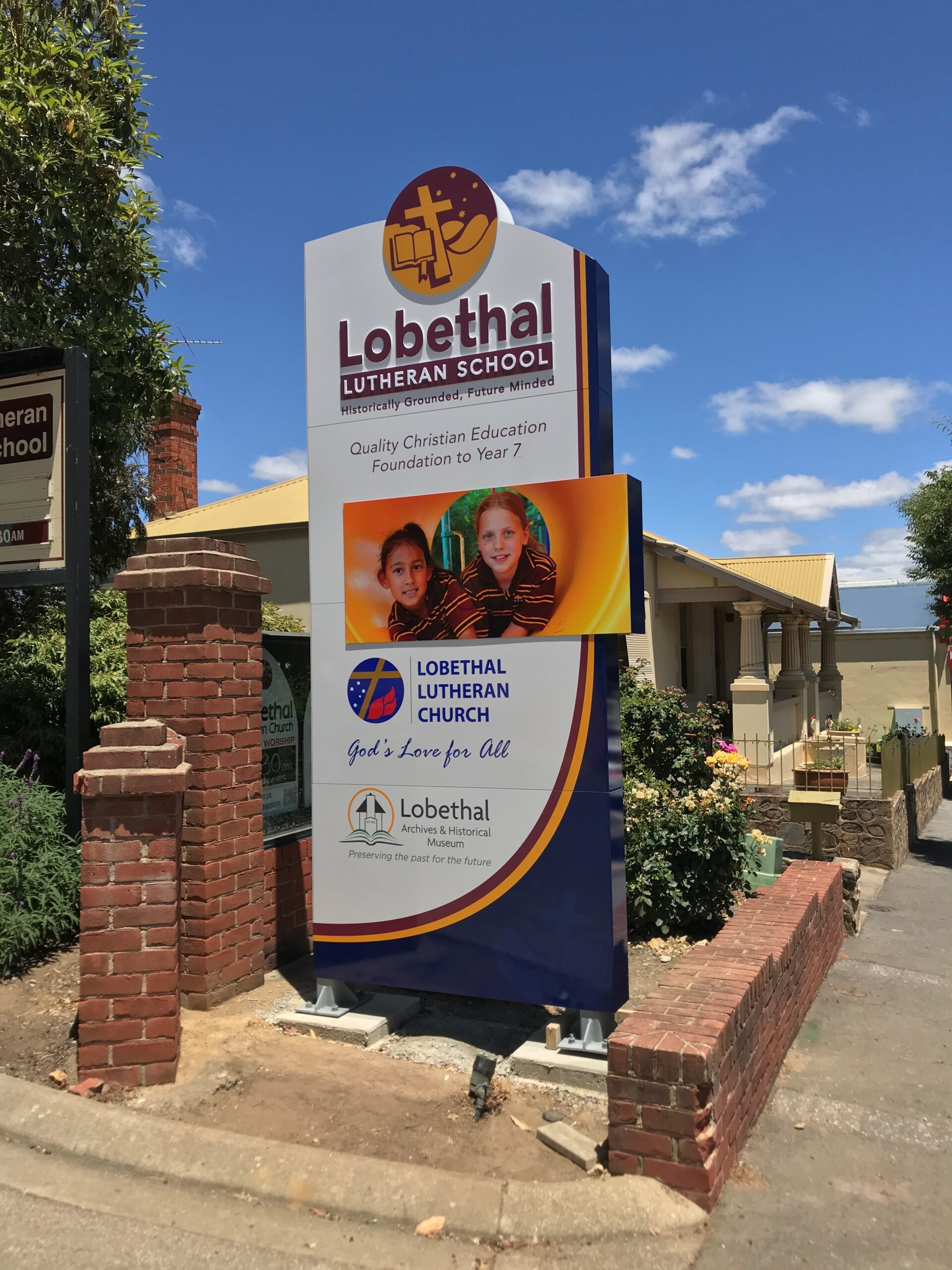 """Featured image for """"Lobethal Lutheran's grand custom pylon entrance sign is promoting a vibrant message of quality education to local community."""""""