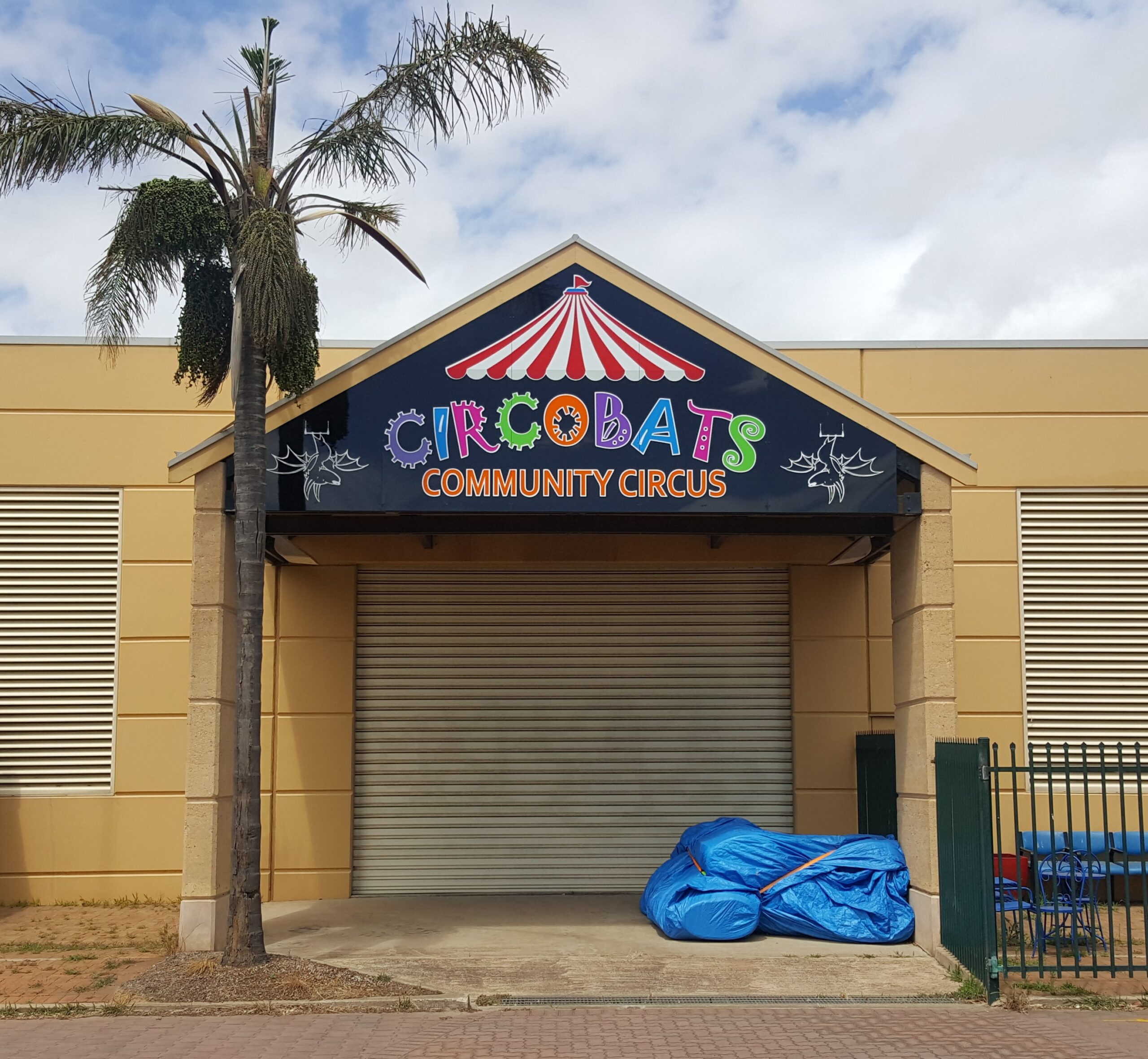 """Featured image for """"CircoBats bounces onto the scene with custom printed metal fascia signs announcing their community circus."""""""