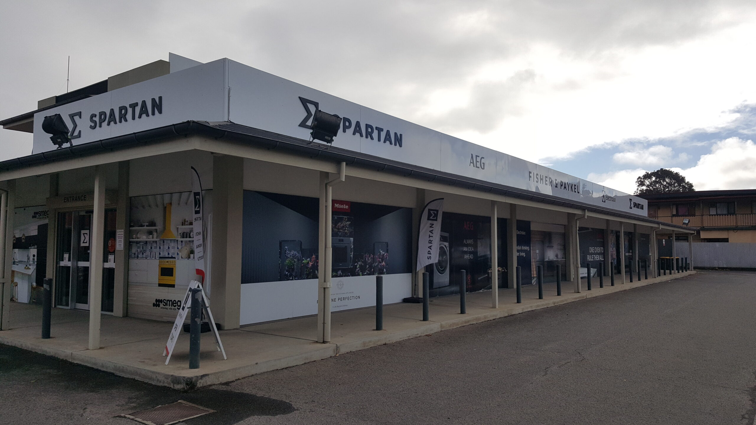 """Featured image for """"Spartan promotes it's huge range of appliances using a huge range of eye-popping signs at it's two big showrooms."""""""